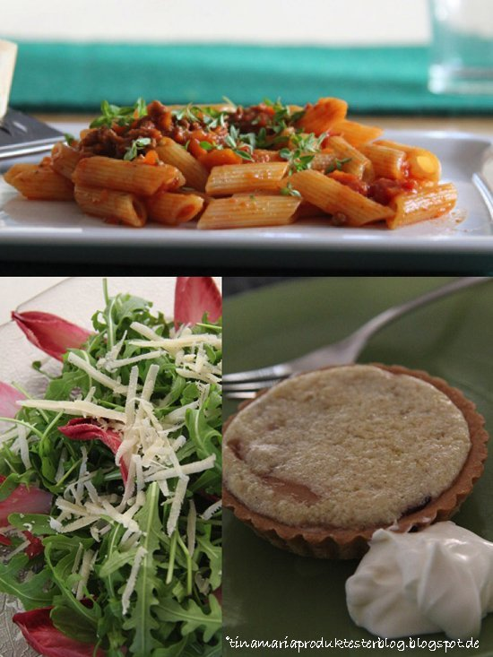 Jamie Oliver 30 Minuten Menü - Jools´Pasta Chicorée-Rucola-Salat, Mandelcreme-Törtchen