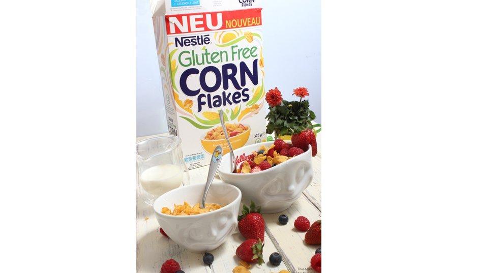 Gluten Free Cornflakes von Nestlé – Zum Frühstück mit Obst oder zum Kaffee einen Rhabarber Cheesecake